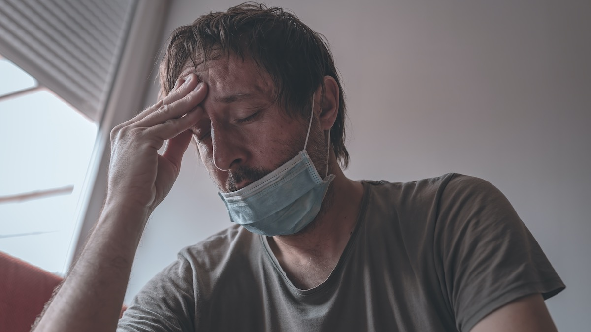 Stressed Man in Home Quarantine, Coping with Anxiety During Coronavirus Pandemic